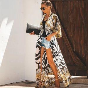 Long chiffon zebra-leopard print kimono (OS)